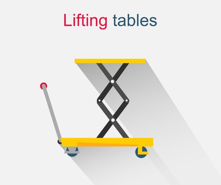 power operated: Lifting tables icon design style. Elevator and weight lifting, lift button, lift platform, industrial equipment, hydraulic cargo, mechanical machine for warehouse illustration