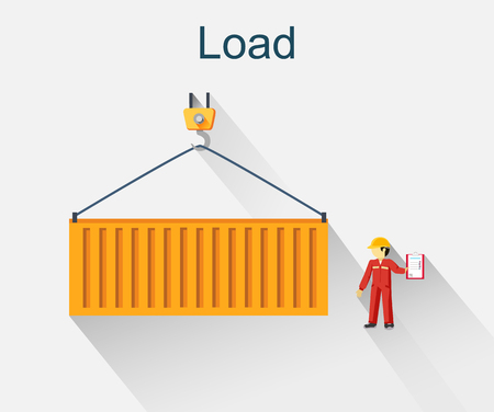 dock: Load container icon design style. Loading icon, loader and loading dock, freight shipping, cargo heavy, delivering and loading, warehouse and logistic, export moving illustration