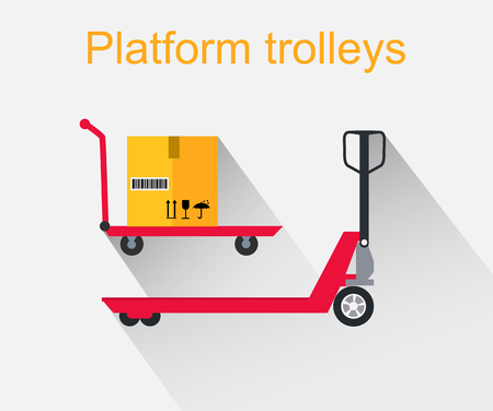 forklift truck: Platform trolleys icon design style. Warehouse and forklift truck, truck and jack, cargo cart, delivery and lift, equipment industry, industrial loader illustration
