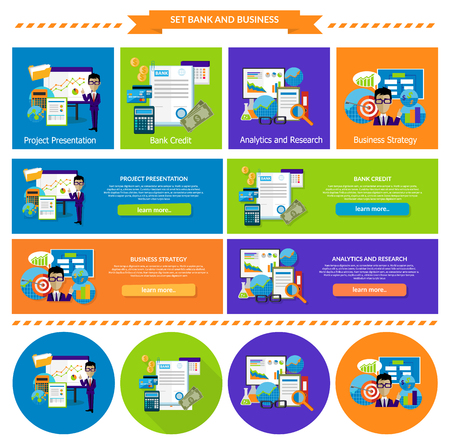 Concept of business strategy analytics and research. Bank credit, presentation project, management marketing, development and success, planning and analysis illustration. Set of banners Vetores