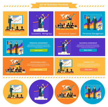 business performance: Business training set. Succefull motivational managment.  Workgroup personnel speech motivation, success leadership, strategy education, goal and learn knowledge, career illustration. Set of banners