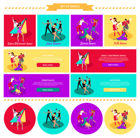 young people party: Set street folk dance jazz disco. Dancing music, event party, people boy and girl, art show performance, sound lifestyle, musical nightlife illustration in flat design. Set of banners Illustration