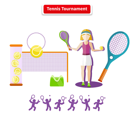 tennis serve: A tennis tournament illustration. Tennis sport concept with item icons. Portrait of sporty girl tennis player with racket in flat design style. Tennis, tennis background, tennis court, tournament, tennis match, tennis doubles