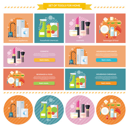 Household beverages food and cosmetic. Appliance and makeup fashion, lipstick and brush, powder and care, detergents and mascara, bottle product, drink and kitchen equipment illustration. Banners set Illustration
