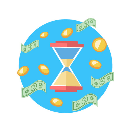 business time: Time is money concept. Hourglass coins. Business currency and clock, dollar saving, watch and cash, sandwatch and monetary. Time management, money, clock, save time, clock money, hourglass money Illustration
