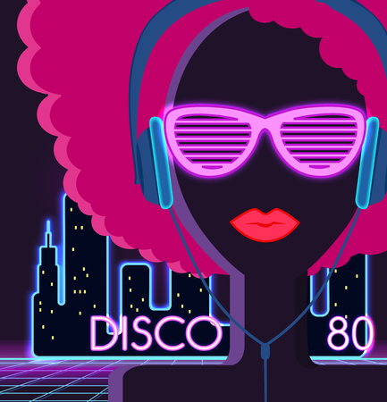 Disco 80s. Girl with headphones. Party and dance, dj and club, disco party, disco background, disco lights,  music and retro sound audio, poster vintage illustration