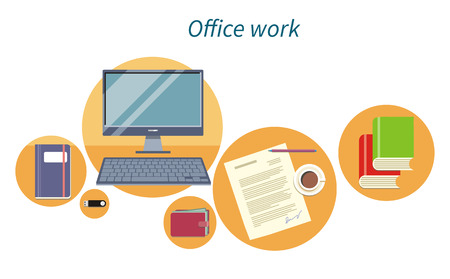 documents: Office work concept flat design icon. Document and computer, business workplace, digital screen, workspace and monitor, paper page, process paperwork, coffee and flash drive illustration Illustration