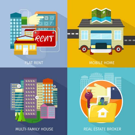 multifamily: Multi-family house, mobile home, flat rent. Rental estate broker, mobile home park, caravan and manufactured home, trailer home, trailer park, residence construction housing illustration