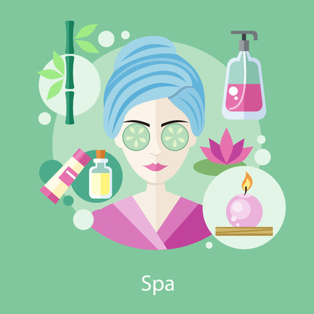 procedures: Spa salon concept flat style design. Hair salon, beauty salon, salon icons, salon logo, beauty spa, girl fashion, care and glamour, woman face health, makeup person, skin facial illustration Illustration