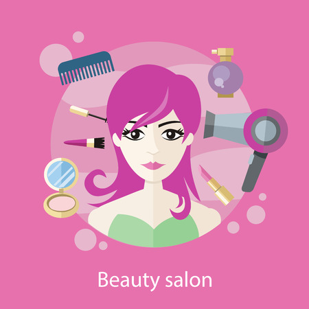hair style fashion: Beauty salon concept flat style design. Hair salon, beauty spa, beauty treatment, beautiful face, spa for woman, fashion female, glamour girl, face makeup illustration
