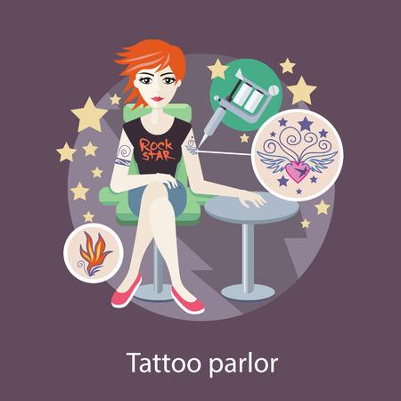 tatouage: Salon de tatouage de conception de style plat. Boutique de tatouage, tatoueur, studio de tatouage, tatouage fille, salon de la mode, l'art personne, l'artiste et l'aiguille, machine pour la peinture illustration