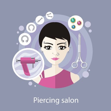 body piercing: Piercing salon flat style design. Body piercing, ear piercing, nose piercing, face piercing, earrings beauty, body fashion, tool and pierce, ring metallic, professional illustration