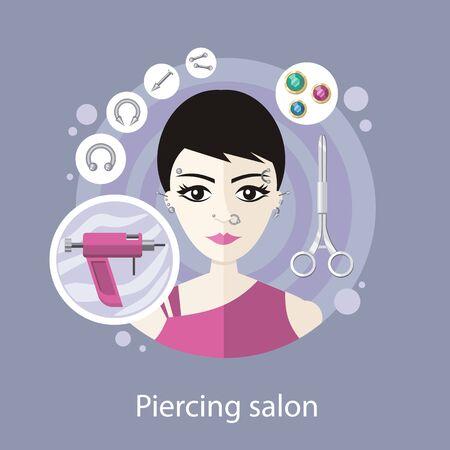 Piercing salon vlakke stijl design. Piercings, oor piercing, neus piercing, gezicht piercing, oorringen schoonheid, lichaam mode, gereedschap en doorboren, ring metallic, professionele illustratie