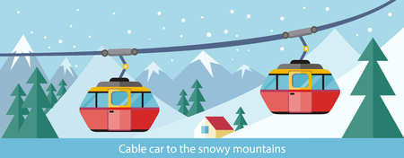 rope way: Cable car to snowy mountains design. Ski lift, trolley car, transportation tourism, travel cabin, snow winter, vacation and ropeway, elevator outdoor aerial illustration