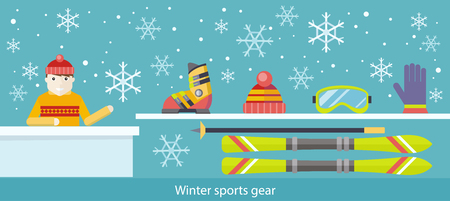 extreme weather: Winter sports gear ski and accessories. Ski and boot, goggles and gloves, accessory clothing, stick and active extreme, weather sportsman, activity leisure illustration