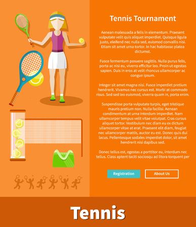 TENIS: Tenis y la página de la interfaz web del torneo. El jugador de tenis, pelota de tenis, raqueta de tenis, deporte juego, raqueta y partido, el juego de la competencia, la actividad recreativa, reproductor de formación, ilustración vectorial Vectores