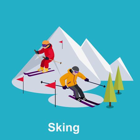 catarro: Las personas que esqu�an dise�o estilo plano. Esqu�s aislado, esquiador y nieve, esqu� de fondo, deportes de invierno, la temporada y la monta�a, descenso en fr�o, de estilo de vida recreaci�n, la velocidad de la actividad extrema ilustraci�n