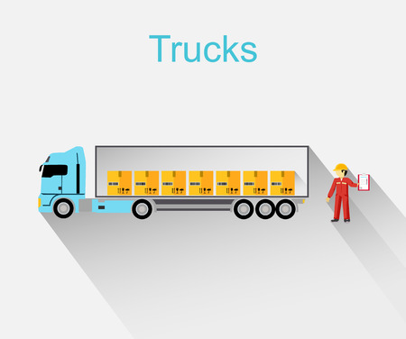 semi truck: Trucks lorry icon design style flat.  Car and transportation, van and delivery truck, semi truck, truck driver, lorry and delivery, transport cargo, business logistic illustration