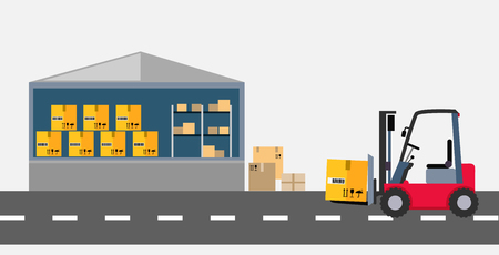 storage facility: Warehouse and stackers flat design. Storage and facilities, freight stacking, storage unit, warehouse interior, storage boxes, storage building, storehouse and cargo illustration