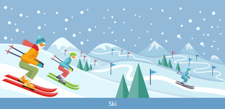 resort: Skiing winter landscape design. Skier on snow, ski and winter, cold and sky, outdoor mountain, sport season, extreme hill, vacation and weather, resort activity, snowy natural environment illustration Illustration