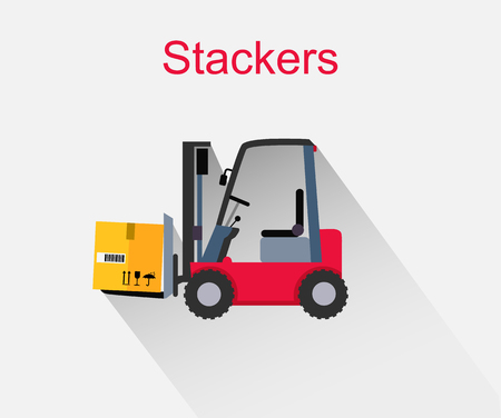 storehouse: Stackers icon design style flat. Box freight, truck distribution, transportation storehouse, cardboard and crate, package product, forklift and cargo illustration