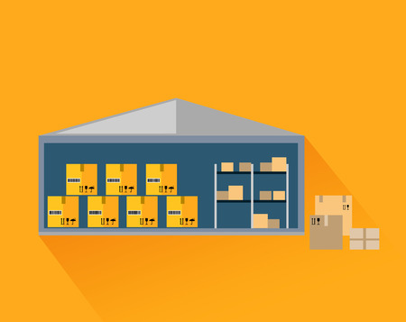 storage: Storage warehouse with boxes in cut. Storage unit, warehouse interior, storage boxes, storage building, industrial storehouse, cargo and interior, distribution and shelf illustration