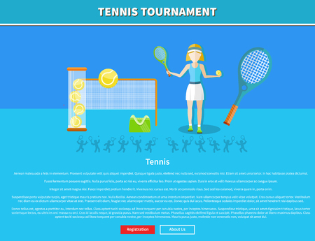 tennis ball: Tennis and tournament web interface page. Tennis player, tennis ball, tennis racket, game sport, racket and match, competition play, recreation activity, training player, vector illustration