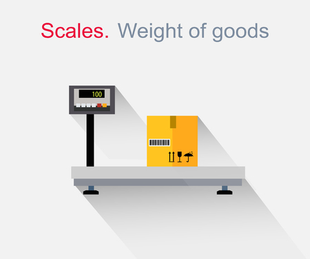 weight: Scales flat design. Weight of goods. Box and cargo, package and freight, parcel and product, load packaging,  order and import, logistic and distribution illustration Illustration