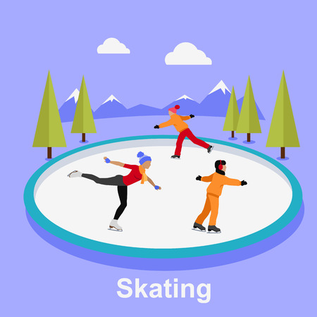 figure skating: People skating flat style design. Ice skating, figure skating, skating rink, sport lifestyle, activity leisure, winter and ice, recreation outdoor illustration