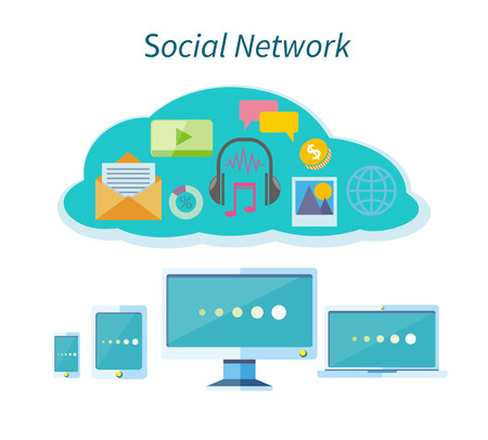digital tablet: Social network concept background. Concept of organisation business workflow through smartphone, laptop, digital tablet and computer. Social network, communication in the global computer networks