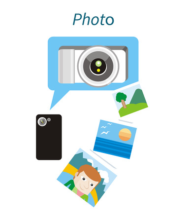 photo album: Photo concept flat design style. Photo frame, camera and photography, picture and photo album, photo icon, technology device, equipment illustration