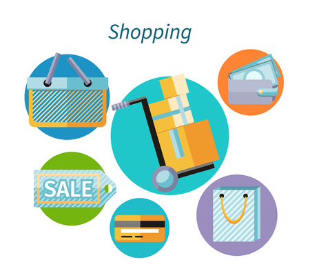pay money: Shopping concept flat design style. Shopping bag, shopping mall, store and shopping cart, shopping icon and sale, fashion business, money finance, marketing payment shop, pay and buy illustration