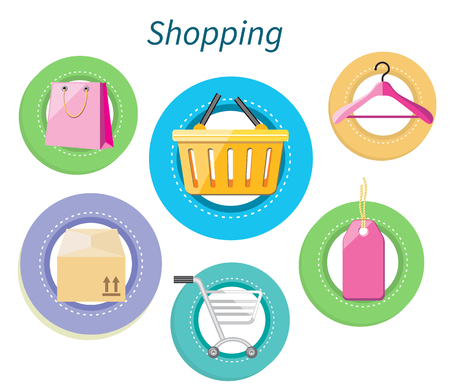 shopping icon: Shopping consumerism flat design style. Shopping bag, shopping mall, shopping cart, shopping icon, marketing shop, hanger and basket, trolley and purchase illustration