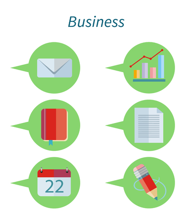 report icon: Business concept flat design set icon. Business icon set, icon set, web icons, web app, communication and infographic, data report, content file, notebook and diagram, page information illustration