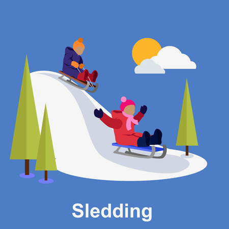 toboggan: Sledding children design flat style. Sleigh toboggan, winter, sledge, snow and sled, slide and leisure, seasonal weather nature, downhill tobogganing, motion and recreation illustration