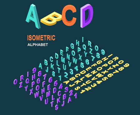 style: Isometric design style alphabet. Letter and 3d alphabet, alphabet letters, font and numbers, kids alphabet, abc and typography, type geometric text, typographic lettering illustration