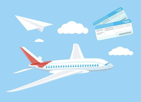 flying paper: Air travel concept flying plane. Airplane and business travel, airline and air ticket, aircraft and transportation, aviation and cloud, tourism and journey, airliner illustration