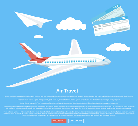 airplane ticket: Air travel concept flying plane. Airplane and business travel, airline and air ticket, aircraft and transportation, aviation and cloud, tourism and journey, airliner illustration