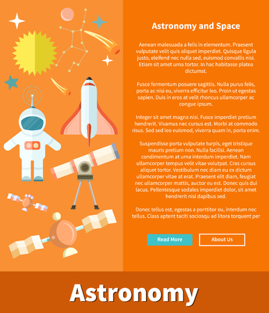 astronomer: Astronomy and space web page design. Astrology and star, telescope and galaxy, astronomer and planet, science and universe, technology and spaceship, spacecraft illustration