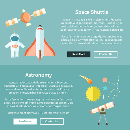space station: Space shuttle and astronomy web page. Spaceship and space shuttle launch, astronaut and rocket, space station, astrology and star, telescope and galaxy, constellation and science illustration
