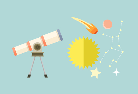 heavenly: Telescope, celestial bodies constellation sun. Comet and star, astronomy space, astrology and galaxy, science and universe, travel flying, equipment and heavenly body illustration Illustration