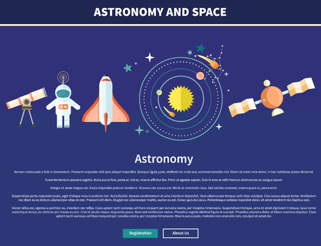 galaxy: Astronomy and space web page design. Astrology and star, telescope and galaxy, astronomer and planet, science and universe, technology and spaceship, spacecraft illustration