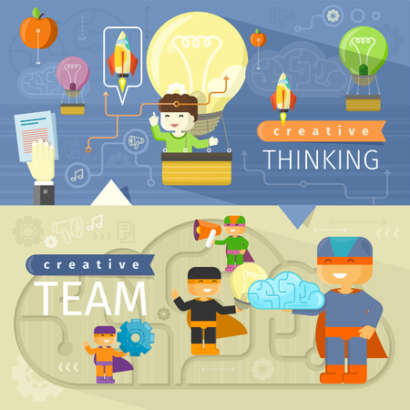 brains: Creative thinking and creative team. Creative concept, creative ideas, creative design, creative background, creative people, design team, idea and business, teamwork illustration