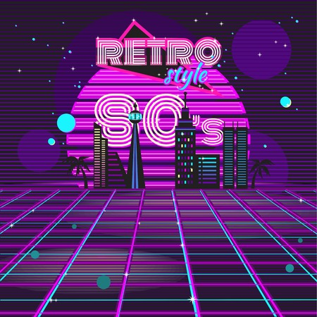 theme: Retro style 80s disco design neon. 80s party, 80s fashion, 80s background, 80s graphic, 80s style, light disco party 1980, club vintage, dance night, flare and shine illustration Illustration
