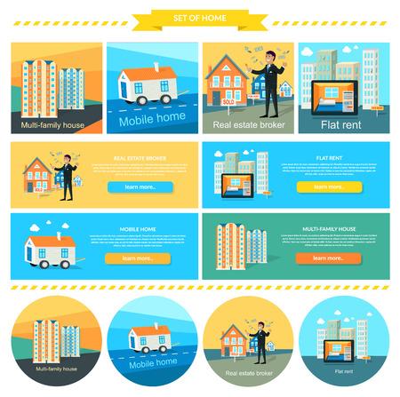 broker: Casa móvil, alquilar piso, casa multifamiliar. Corredor de bienes raíces, caravanas y casas prefabricadas, casa remolque, alquilar casa, apartamento y mudarse de casa ilustración. Conjunto de banderas