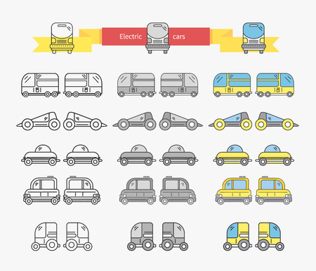 electrical energy: Electric car bus concept design linear. Transport and electric car charging, electric vehicle, hybrid car, transportation vehicle, power automobile, auto traffic, electrical energy illustration Illustration