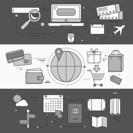 illustration journey: Online ticket reservation and booking accommodation. Transportation pay, search journey, offer voyage, reserve order travel, internet and flight illustration. Set of thin, lines flat icon. White black