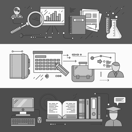 implementation: Process research planning and learning. Strategy concept, management plan educate, control, science experience, education and discover, brainstorming and implementation. Set of thin, lines flat icons Illustration