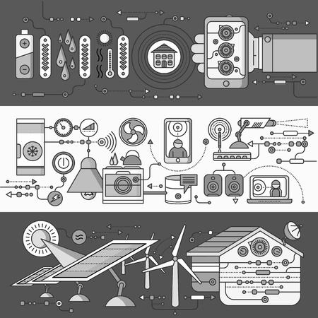 monitoreo: Concepto de dispositivos del hogar y de control inteligente. dispositivo de tecnología, sistema de automatización móvil, energía monitorización de la energía, la eficiencia de la electricidad, temperatura del equipo, termostato remoto. blanco negro Vectores