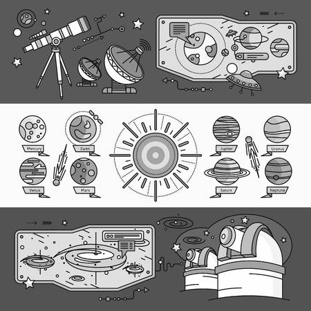 planetarium: Concept of the scientific cosmos flat style. Space and uranus, venus and meteorite, jupiter and neptune, mercury and mars, planetarium and saturn, shuttle and spacecraft. White black